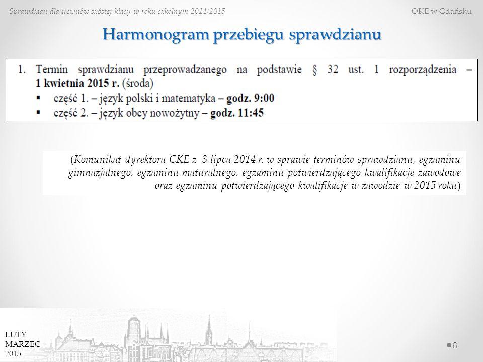 8 Sprawdzian dla uczniów szóstej klasy w roku szkolnym 2014/2015 OKE w Gdańsku Harmonogram przebiegu sprawdzianu (Komunikat dyrektora CKE z 3 lipca 20
