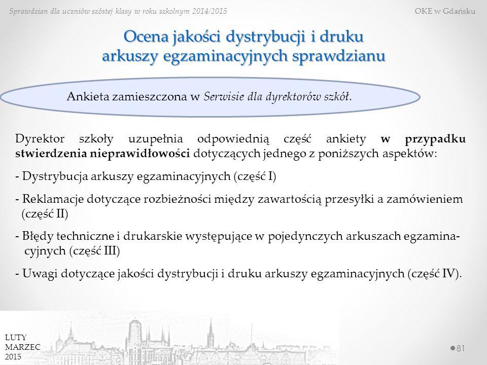 81 Sprawdzian dla uczniów szóstej klasy w roku szkolnym 2014/2015 OKE w Gdańsku LUTY MARZEC 2015 Ocena jakości dystrybucji i druku arkuszy egzaminacyjnych sprawdzianu Dyrektor szkoły uzupełnia odpowiednią część ankiety w przypadku stwierdzenia nieprawidłowości dotyczących jednego z poniższych aspektów: - Dystrybucja arkuszy egzaminacyjnych (część I) - Reklamacje dotyczące rozbieżności między zawartością przesyłki a zamówieniem (część II) - Błędy techniczne i drukarskie występujące w pojedynczych arkuszach egzamina- cyjnych (część III) - Uwagi dotyczące jakości dystrybucji i druku arkuszy egzaminacyjnych (część IV).