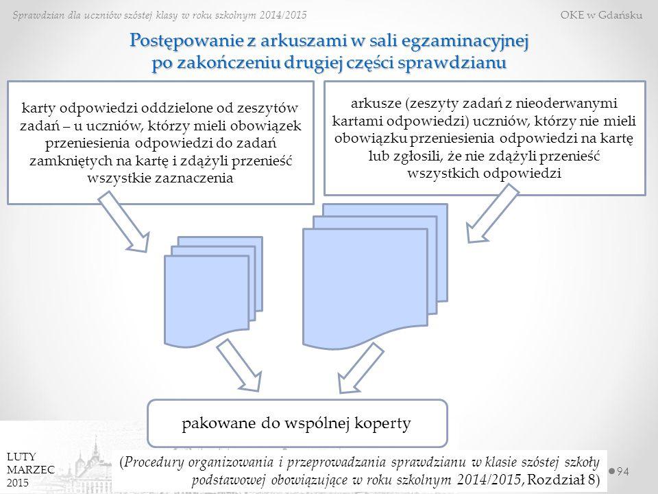 94 Sprawdzian dla uczniów szóstej klasy w roku szkolnym 2014/2015 OKE w Gdańsku LUTY MARZEC 2015 (Procedury organizowania i przeprowadzania sprawdzian