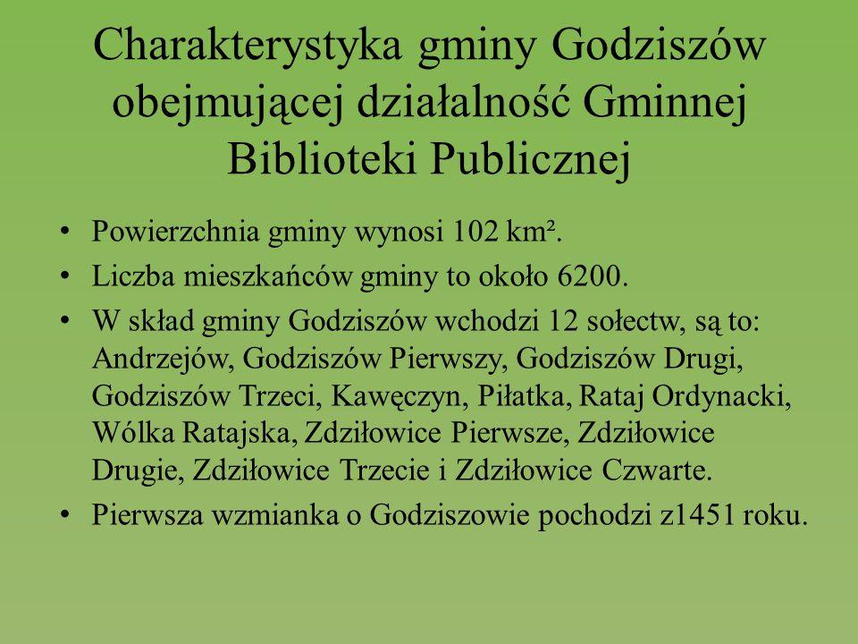 Charakterystyka gminy Godziszów obejmującej działalność Gminnej Biblioteki Publicznej Powierzchnia gminy wynosi 102 km². Liczba mieszkańców gminy to o