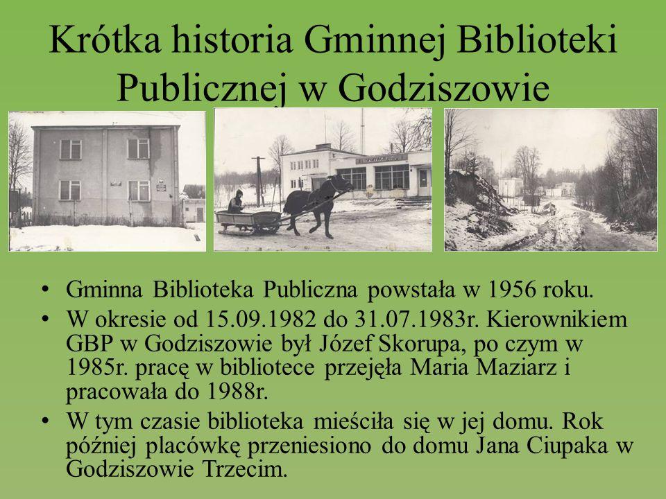 Krótka historia Gminnej Biblioteki Publicznej w Godziszowie Gminna Biblioteka Publiczna powstała w 1956 roku. W okresie od 15.09.1982 do 31.07.1983r.