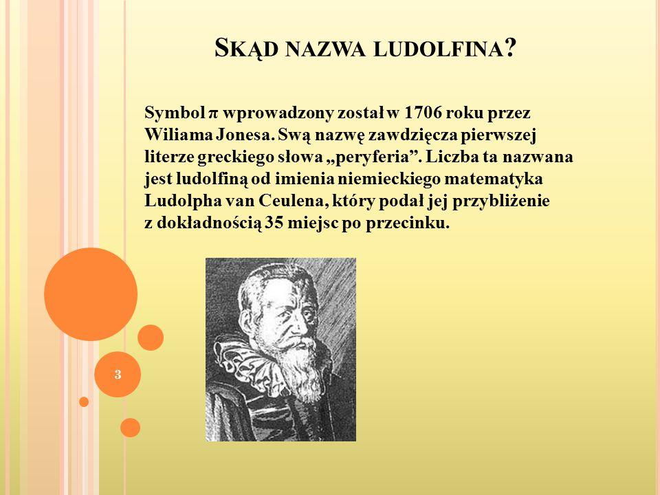 S KĄD NAZWA LUDOLFINA .Symbol π wprowadzony został w 1706 roku przez Wiliama Jonesa.