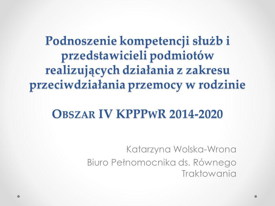 Podnoszenie kompetencji służb i przedstawicieli podmiotów realizujących działania z zakresu przeciwdziałania przemocy w rodzinie O BSZAR IV KPPP W R 2