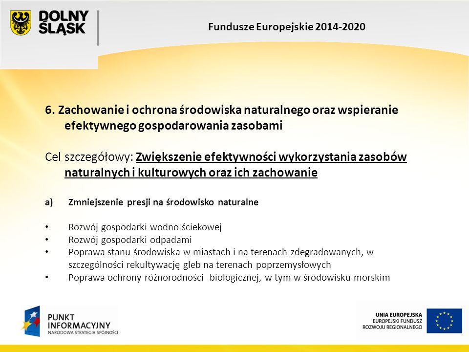 Fundusze Europejskie 2014-2020 6. Zachowanie i ochrona środowiska naturalnego oraz wspieranie efektywnego gospodarowania zasobami Cel szczegółowy: Zwi