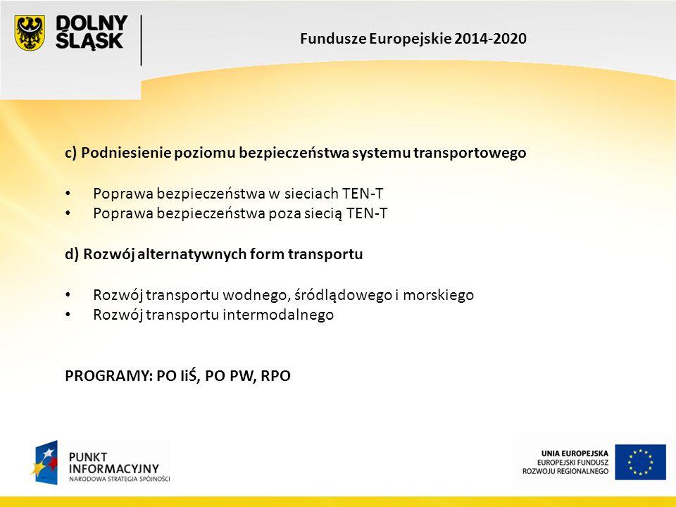 Fundusze Europejskie 2014-2020 c) Podniesienie poziomu bezpieczeństwa systemu transportowego Poprawa bezpieczeństwa w sieciach TEN-T Poprawa bezpiecze