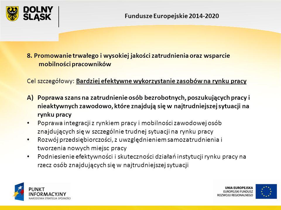 Fundusze Europejskie 2014-2020 8. Promowanie trwałego i wysokiej jakości zatrudnienia oraz wsparcie mobilności pracowników Cel szczegółowy: Bardziej e