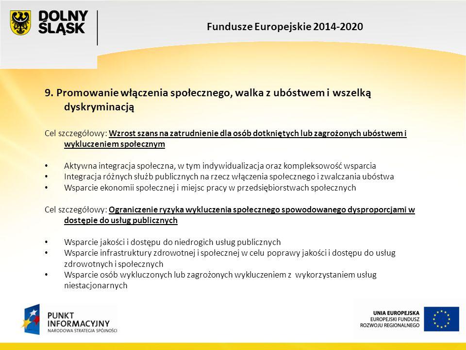 Fundusze Europejskie 2014-2020 9. Promowanie włączenia społecznego, walka z ubóstwem i wszelką dyskryminacją Cel szczegółowy: Wzrost szans na zatrudni