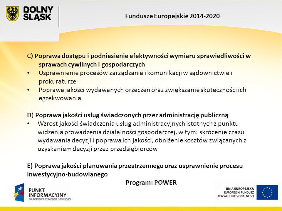 Fundusze Europejskie 2014-2020 C) Poprawa dostępu i podniesienie efektywności wymiaru sprawiedliwości w sprawach cywilnych i gospodarczych Usprawnieni