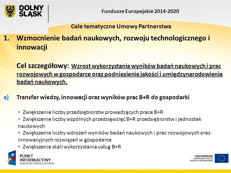 Fundusze Europejskie 2014-2020 Cele tematyczne Umowy Partnerstwa 1. Wzmocnienie badań naukowych, rozwoju technologicznego i innowacji Cel szczegółowy: