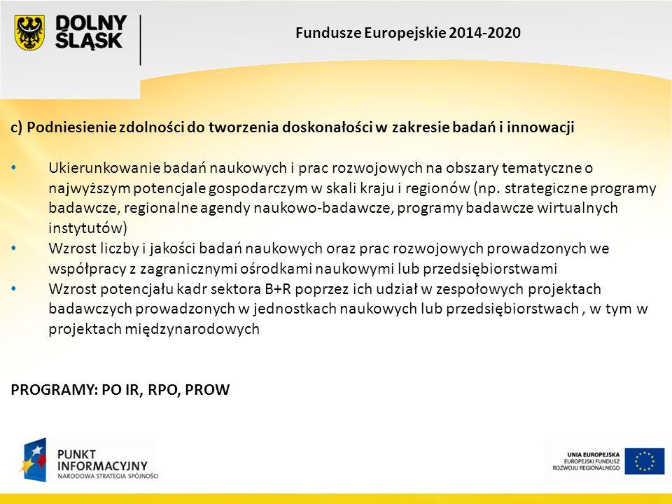 Fundusze Europejskie 2014-2020 c) Podniesienie zdolności do tworzenia doskonałości w zakresie badań i innowacji Ukierunkowanie badań naukowych i prac