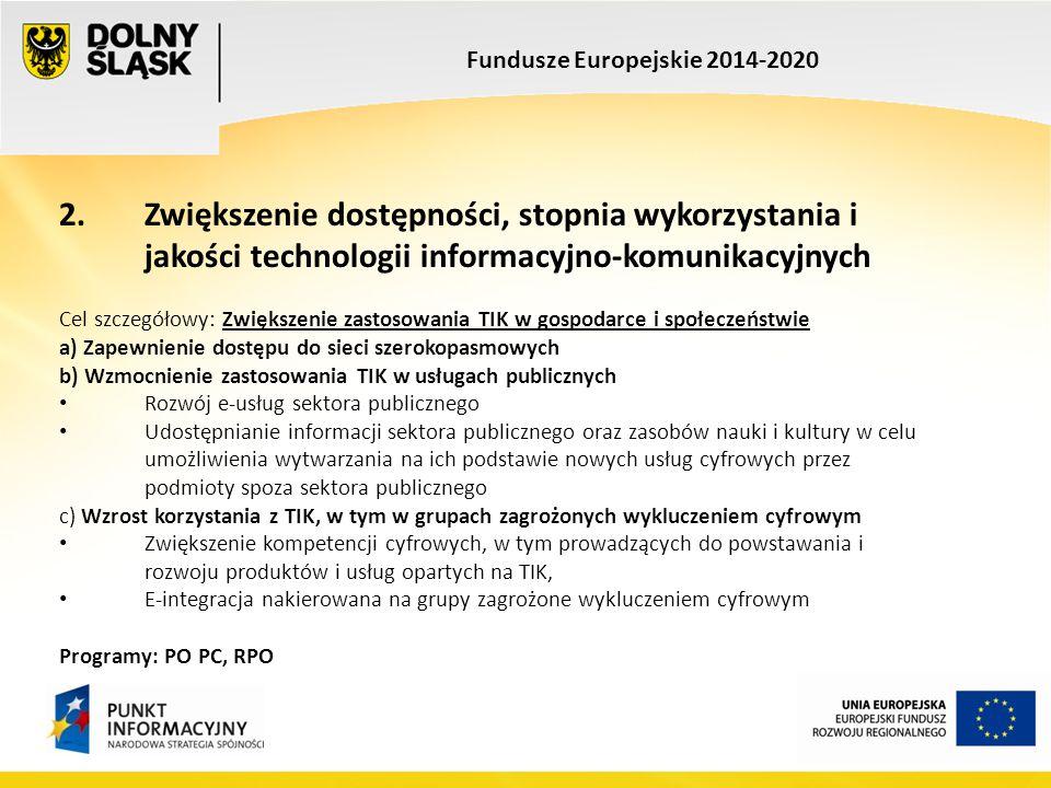Fundusze Europejskie 2014-2020 2. Zwiększenie dostępności, stopnia wykorzystania i jakości technologii informacyjno-komunikacyjnych Cel szczegółowy: Z