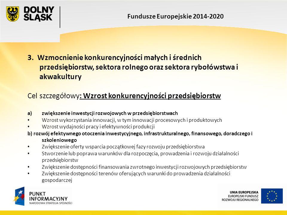 Fundusze Europejskie 2014-2020 c) Dywersyfikacja działalności i nowe modele biznesowe Wzrost internacjonalizacji przedsiębiorstw, w szczególności wzrost eksportu towarów i usług Wzrost liczby inwestycji zagranicznych Wzrost współpracy pomiędzy firmami, sieciowanie produktów, zwiększenie liczby efektywnych partnerstw pomiędzy przedsiębiorstwami, w szczególności poprawa funkcjonowania klastrów Programy: POIR, PO PW, PROW, PO RYBY, RPO