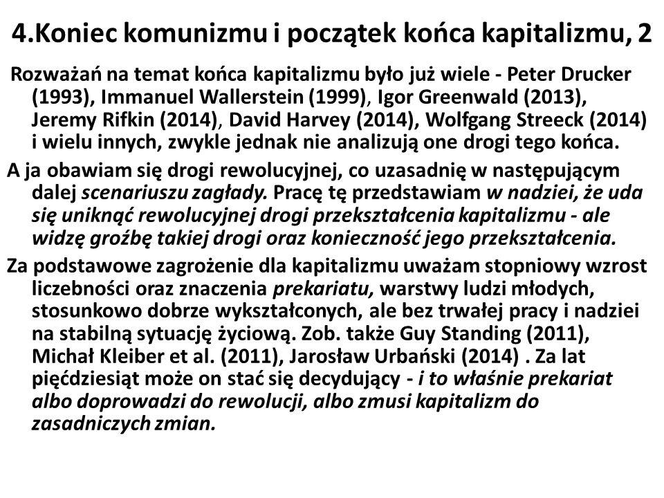 4.Koniec komunizmu i początek końca kapitalizmu, 2 Rozważań na temat końca kapitalizmu było już wiele - Peter Drucker (1993), Immanuel Wallerstein (1999), Igor Greenwald (2013), Jeremy Rifkin (2014), David Harvey (2014), Wolfgang Streeck (2014) i wielu innych, zwykle jednak nie analizują one drogi tego końca.