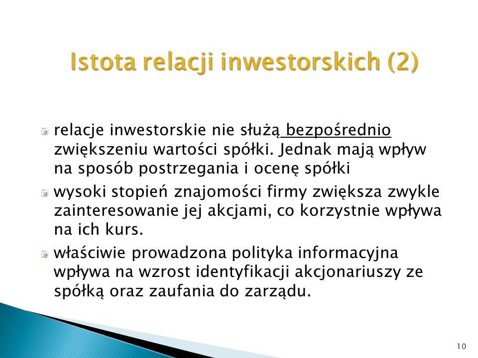 akcjonariusze (inwestorzy branżowi, kapitałowi, instytucjonalni, indywidualni) interesariusze zewnętrzni (dostawcy, kooperanci) kontrahenci interesariusze wewnętrzni (pracownicy spółki) media - ośrodki opiniotwórcze biura maklerskie, banki i analitycy instytucje rynku kapitałowego (GPW, KDPW, KNF …) 11