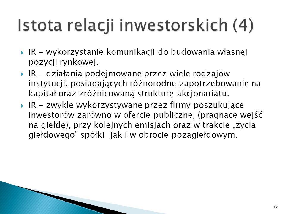17  IR - wykorzystanie komunikacji do budowania własnej pozycji rynkowej.  IR - działania podejmowane przez wiele rodzajów instytucji, posiadających