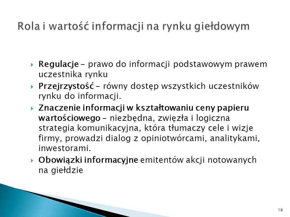 18  Regulacje - prawo do informacji podstawowym prawem uczestnika rynku  Przejrzystość - równy dostęp wszystkich uczestników rynku do informacji. 