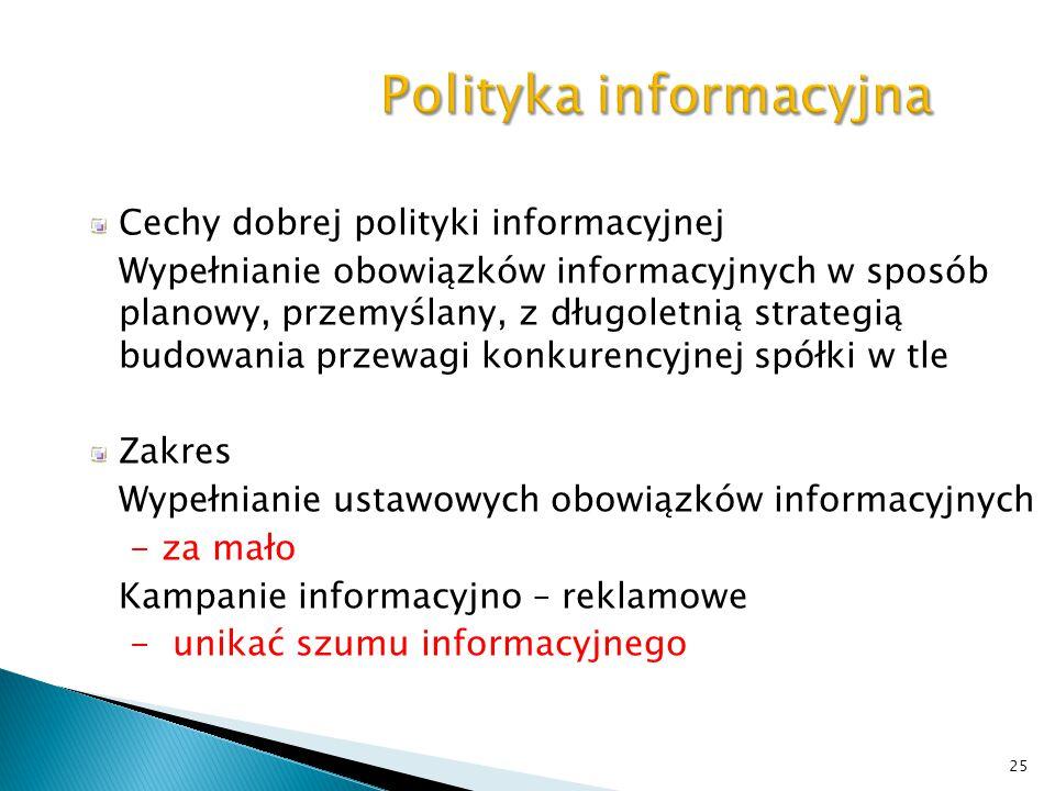 25 Polityka informacyjna Cechy dobrej polityki informacyjnej Wypełnianie obowiązków informacyjnych w sposób planowy, przemyślany, z długoletnią strate