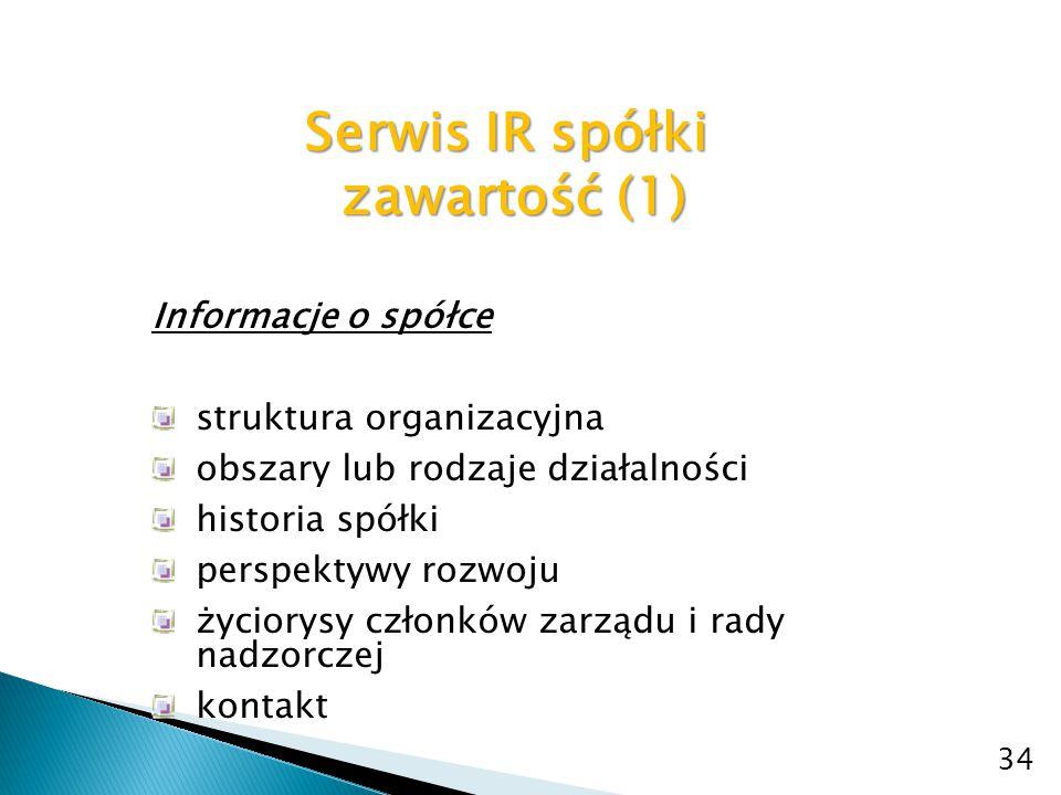Serwis IR spółki zawartość (2) zawartość (2) Strategia/plany rozwojowe informacje o planach rozwoju spółki, definicja misji i strategii spółki, inwestycje, przejęcia 35