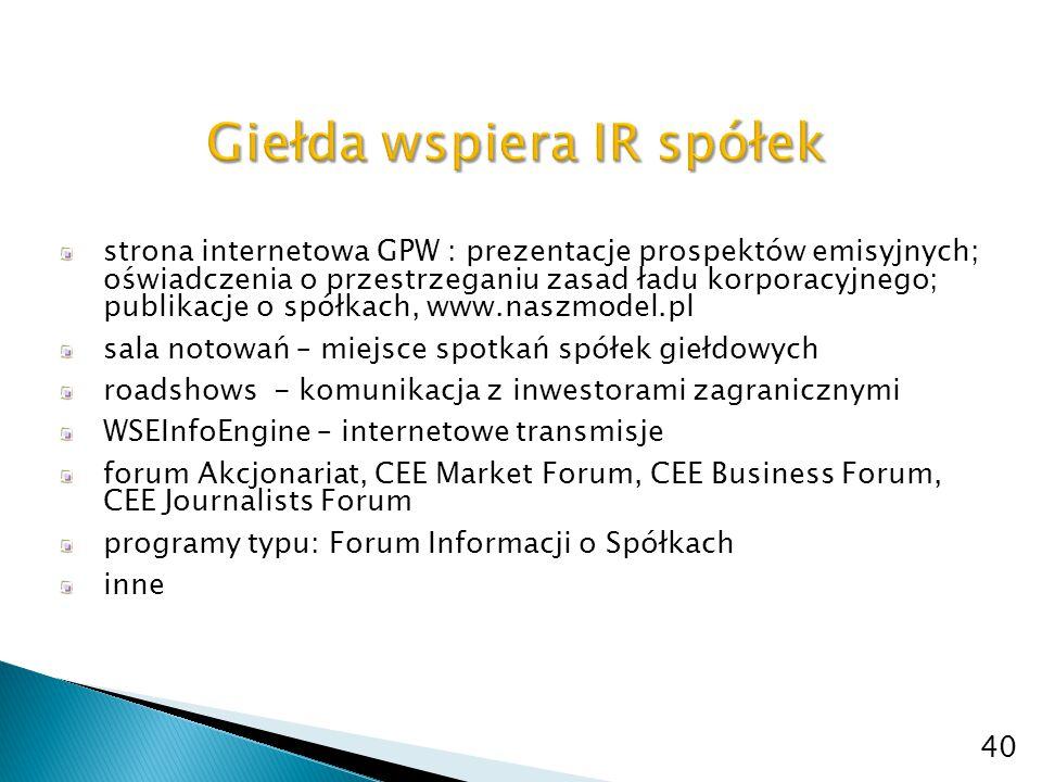 strona internetowa GPW : prezentacje prospektów emisyjnych; oświadczenia o przestrzeganiu zasad ładu korporacyjnego; publikacje o spółkach, www.naszmo