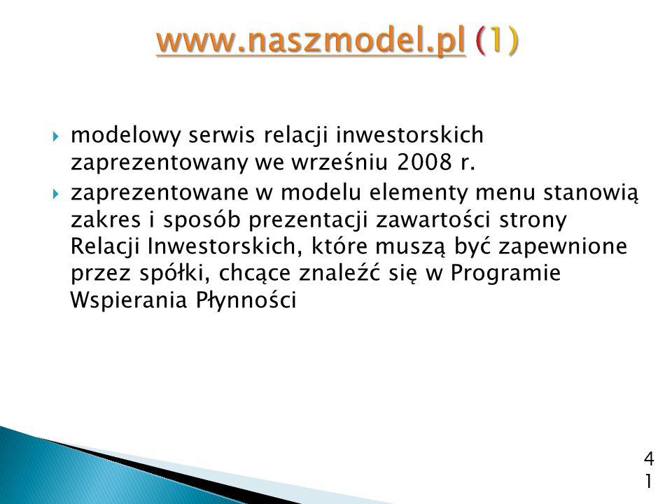  modelowy serwis relacji inwestorskich zaprezentowany we wrześniu 2008 r.  zaprezentowane w modelu elementy menu stanowią zakres i sposób prezentacj