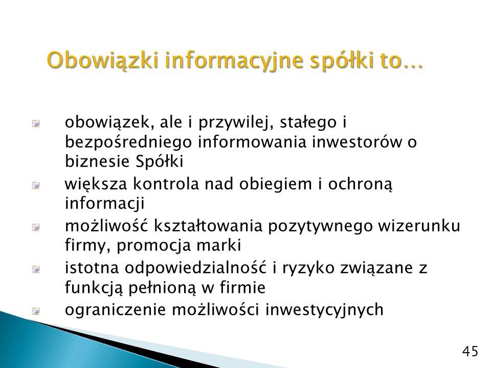 stworzenie komórki odpowiedzialnej za obowiązki informacyjne opracowanie i implementacja zasad obiegu i ochrony informacji kontrola obiegu i ochrony informacji w spółce 46