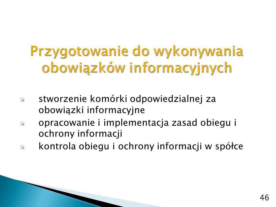 """stałe monitorowanie informacji i ich obiegu w spółce (umiejętność """"redukcji szumu informacyjnego) przewidywanie określonych zdarzeń, wcześniejsze przygotowanie, możliwych scenariuszy i rodzaju/sposobu rozwiązania (gotowe pomysły) ustalenie zakresu, trybu i terminów przekazywania raportów okresowych ustalenie tryb i terminów przekazywania raportów bieżących stały monitoring przepisów 47"""