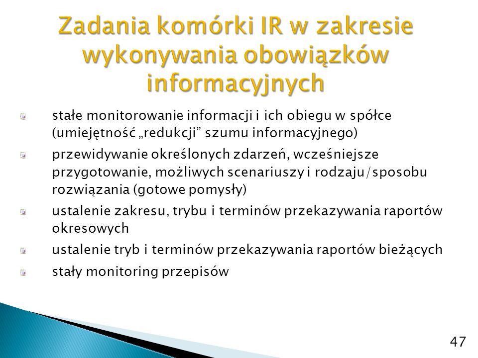 """stałe monitorowanie informacji i ich obiegu w spółce (umiejętność """"redukcji"""" szumu informacyjnego) przewidywanie określonych zdarzeń, wcześniejsze prz"""