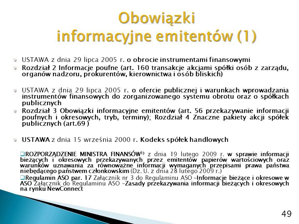 USTAWA z dnia 29 lipca 2005 r. o obrocie instrumentami finansowymi Rozdział 2 Informacje poufne (art. 160 transakcje akcjami spółki osób z zarządu, or