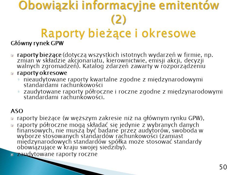 Główny rynek GPW raporty bieżące (dotyczą wszystkich istotnych wydarzeń w firmie, np. zmian w składzie akcjonariatu, kierownictwie, emisji akcji, decy