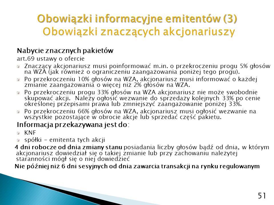 Nabycie znacznych pakietów art.69 ustawy o ofercie Znaczący akcjonariusz musi poinformować m.in. o przekroczeniu progu 5% głosów na WZA (jak również o
