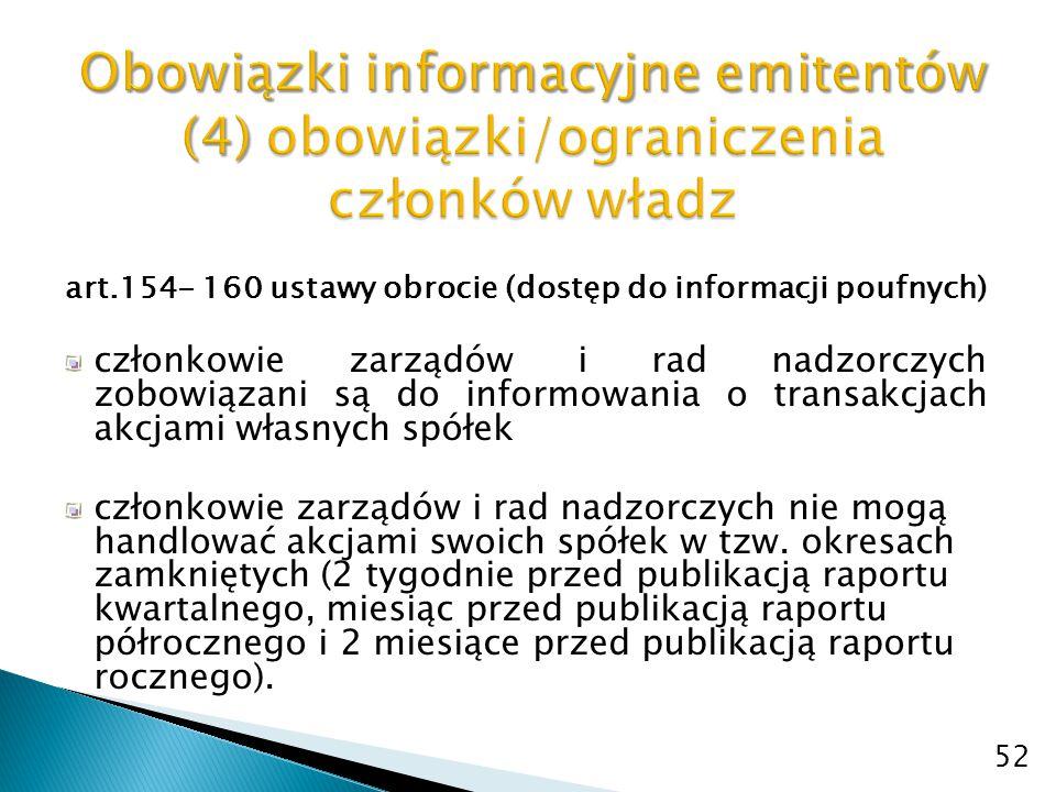 art.154- 160 ustawy obrocie (dostęp do informacji poufnych) członkowie zarządów i rad nadzorczych zobowiązani są do informowania o transakcjach akcjam