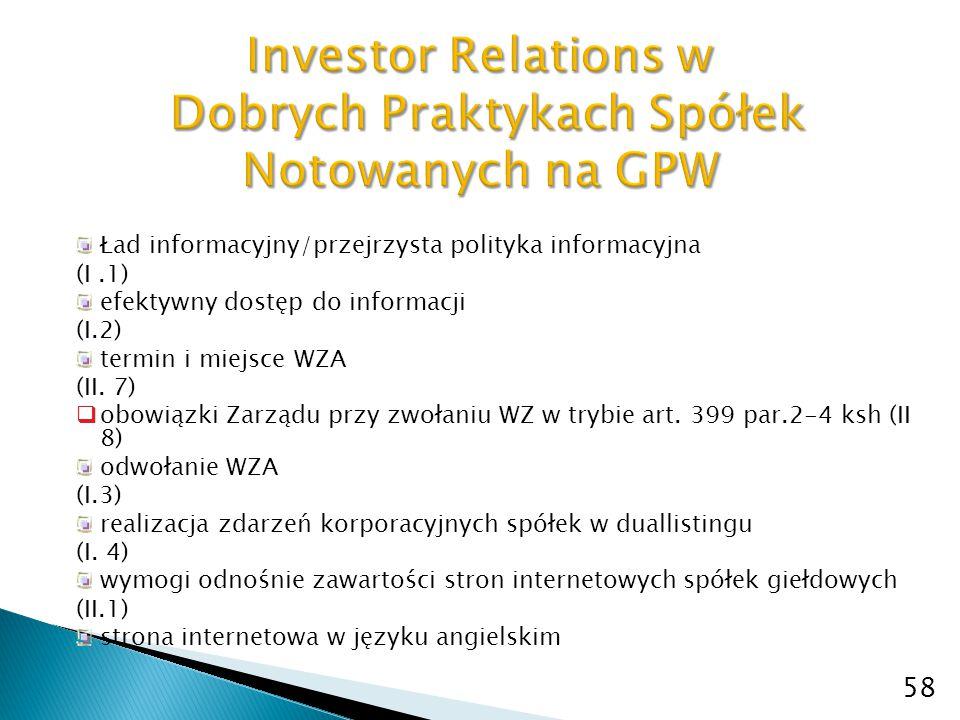 58 Investor Relations w Dobrych Praktykach Spółek Notowanych na GPW Ład informacyjny/przejrzysta polityka informacyjna (I.1) efektywny dostęp do infor