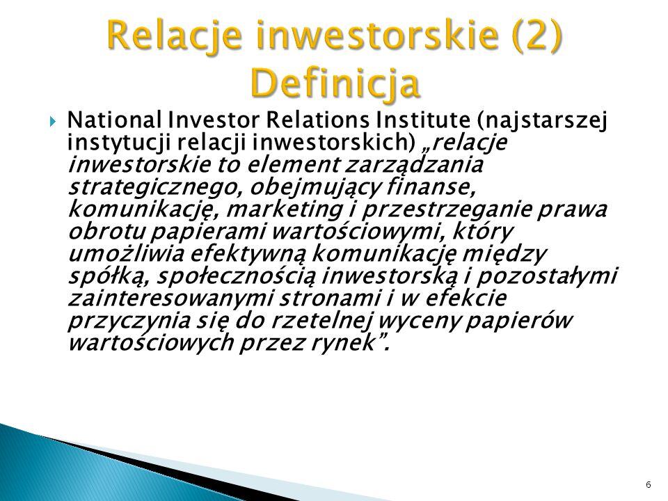  Historia inwestor relations (IR) sięga połowy lat trzydziestych ubiegłego wieku, kiedy to w 1933 oraz 1934 roku przyjęto w Stanach Zjednoczonych ustawy o papierach wartościowych oraz o obrocie papierami wartościowymi.