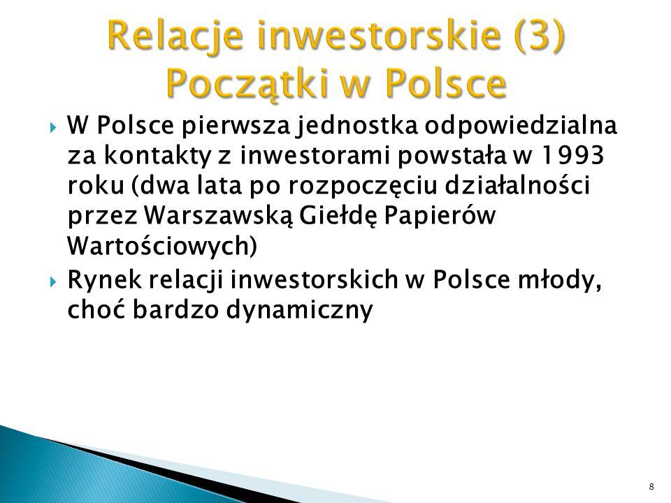  W Polsce pierwsza jednostka odpowiedzialna za kontakty z inwestorami powstała w 1993 roku (dwa lata po rozpoczęciu działalności przez Warszawską Gie