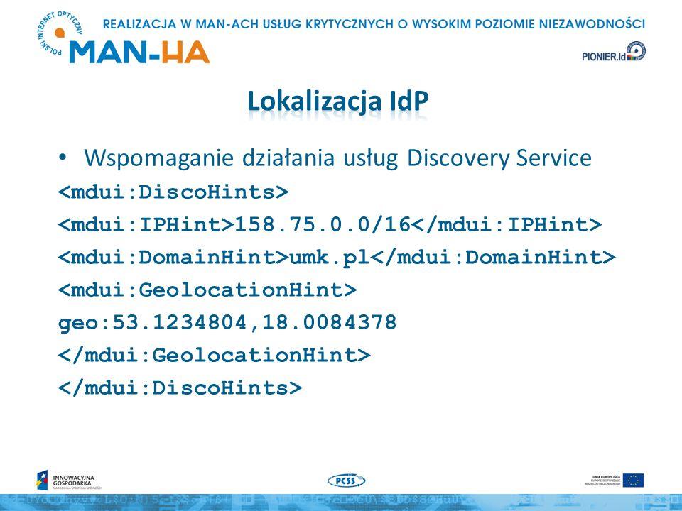 Wspomaganie działania usług Discovery Service 158.75.0.0/16 umk.pl geo:53.1234804,18.0084378