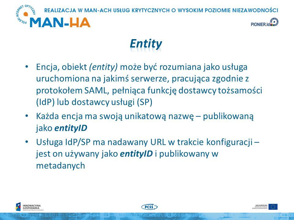 Encja, obiekt (entity) może być rozumiana jako usługa uruchomiona na jakimś serwerze, pracująca zgodnie z protokołem SAML, pełniąca funkcję dostawcy tożsamości (IdP) lub dostawcy usługi (SP) Każda encja ma swoją unikatową nazwę – publikowaną jako entityID Usługa IdP/SP ma nadawany URL w trakcie konfiguracji – jest on używany jako entityID i publikowany w metadanych