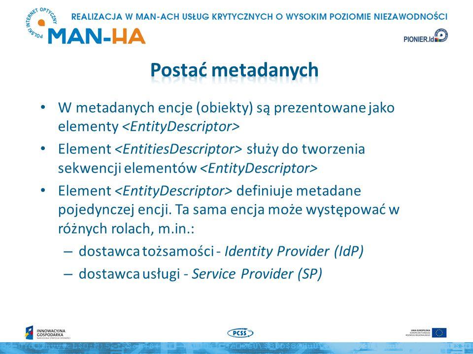 W metadanych encje (obiekty) są prezentowane jako elementy Element służy do tworzenia sekwencji elementów Element definiuje metadane pojedynczej encji.
