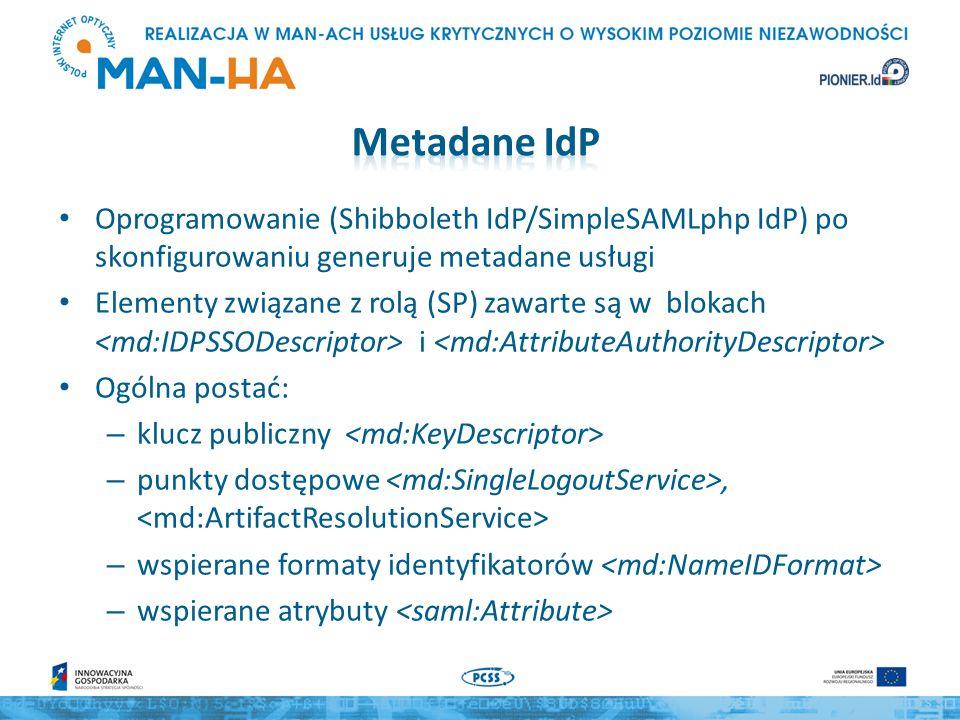 Oprogramowanie (Shibboleth IdP/SimpleSAMLphp IdP) po skonfigurowaniu generuje metadane usługi Elementy związane z rolą (SP) zawarte są w blokach i Ogólna postać: – klucz publiczny – punkty dostępowe, – wspierane formaty identyfikatorów – wspierane atrybuty