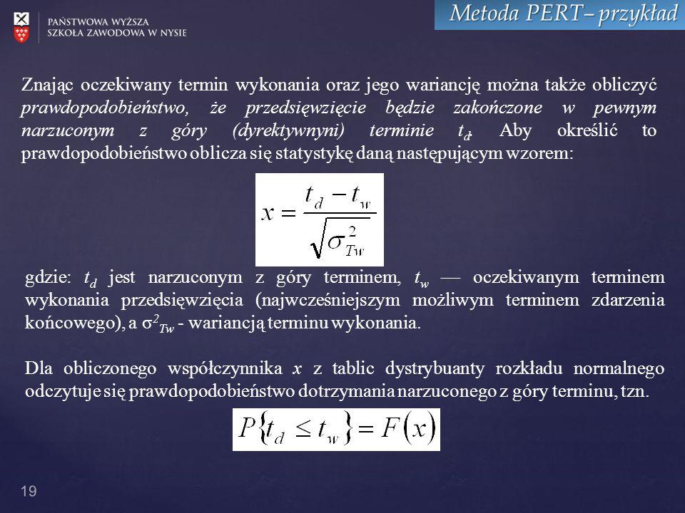 19 Metoda PERT– przykład Znając oczekiwany termin wykonania oraz jego wariancję można także obliczyć prawdopodobieństwo, że przedsięwzięcie będzie zakończone w pewnym narzuconym z góry (dyrektywnyni) terminie t d.