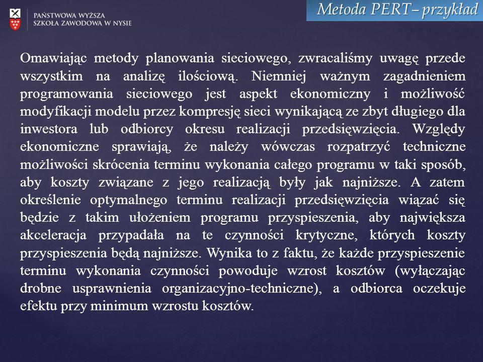 Metoda PERT– przykład Omawiając metody planowania sieciowego, zwracaliśmy uwagę przede wszystkim na analizę ilościową.
