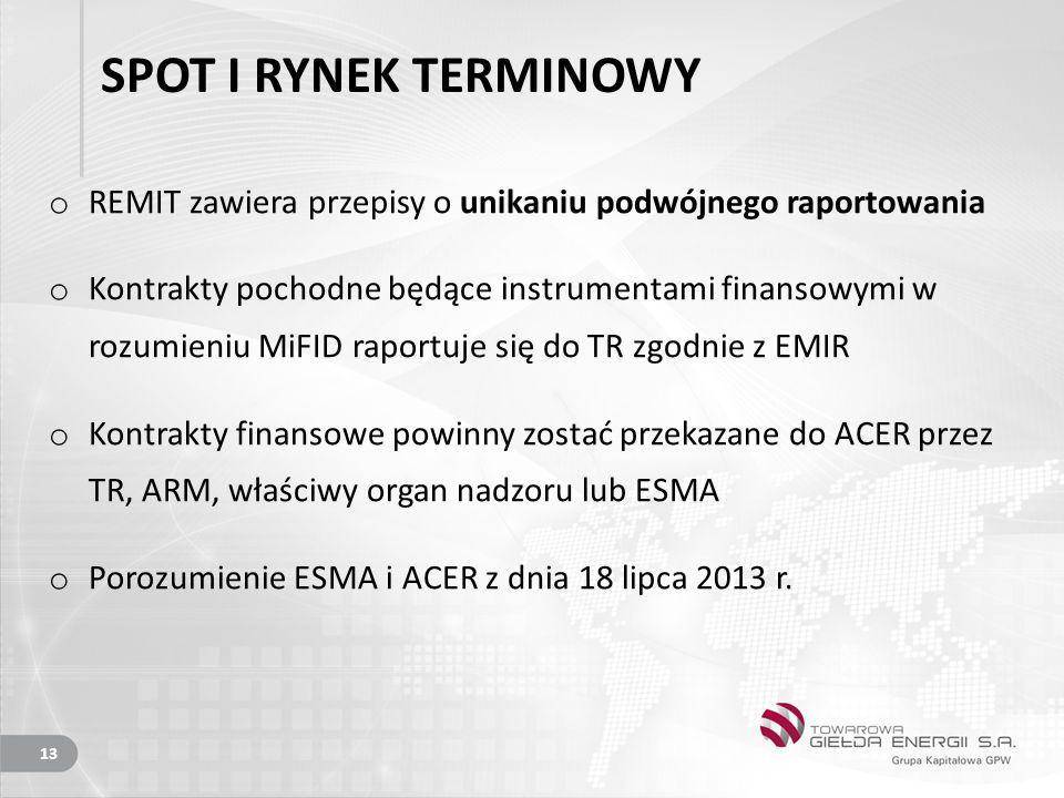 SPOT I RYNEK TERMINOWY o REMIT zawiera przepisy o unikaniu podwójnego raportowania o Kontrakty pochodne będące instrumentami finansowymi w rozumieniu MiFID raportuje się do TR zgodnie z EMIR o Kontrakty finansowe powinny zostać przekazane do ACER przez TR, ARM, właściwy organ nadzoru lub ESMA o Porozumienie ESMA i ACER z dnia 18 lipca 2013 r.
