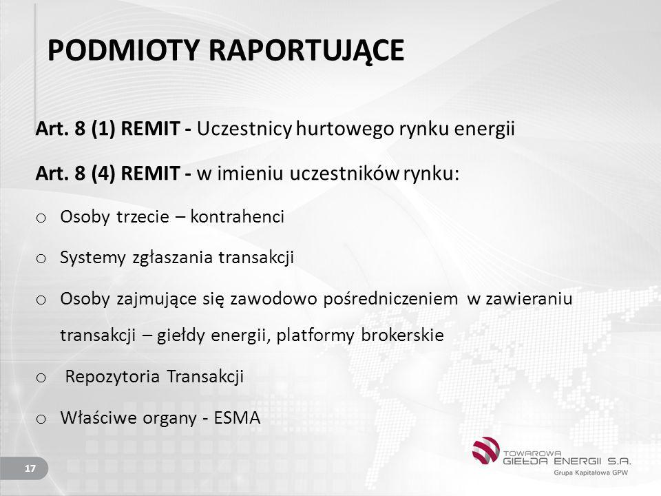 PODMIOTY RAPORTUJĄCE Art.8 (1) REMIT - Uczestnicy hurtowego rynku energii Art.