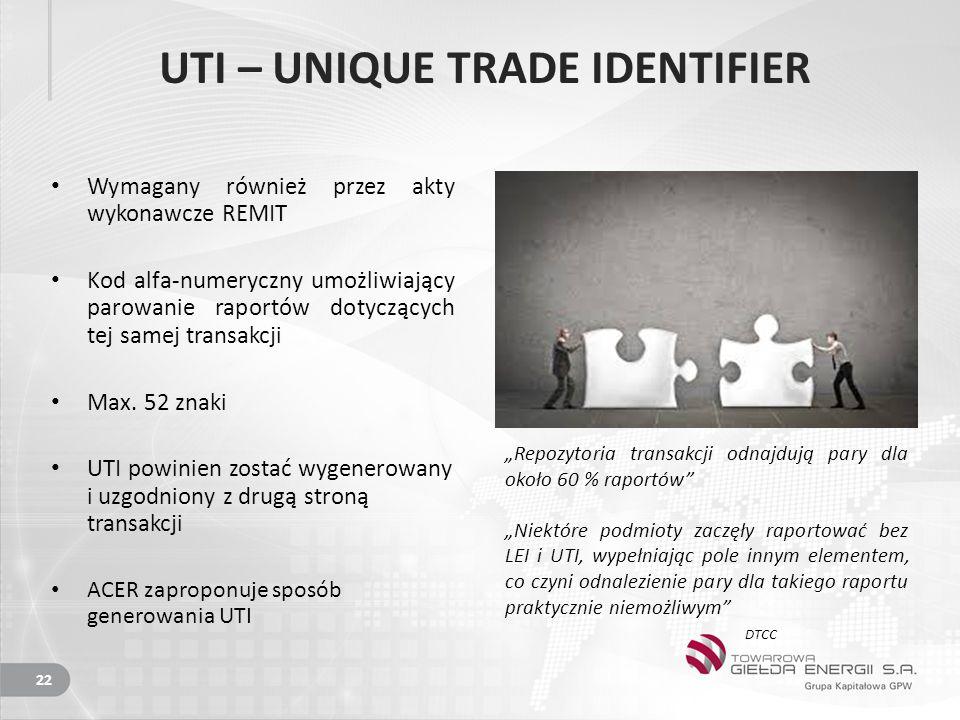 UTI – UNIQUE TRADE IDENTIFIER Wymagany również przez akty wykonawcze REMIT Kod alfa-numeryczny umożliwiający parowanie raportów dotyczących tej samej transakcji Max.