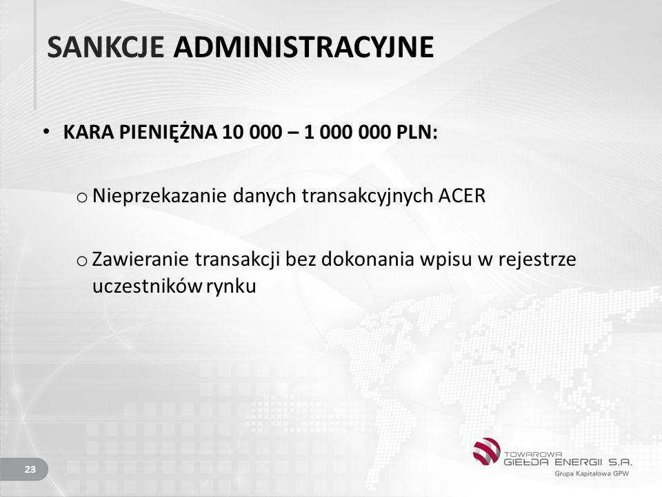 SANKCJE ADMINISTRACYJNE KARA PIENIĘŻNA 10 000 – 1 000 000 PLN: o Nieprzekazanie danych transakcyjnych ACER o Zawieranie transakcji bez dokonania wpisu w rejestrze uczestników rynku 23