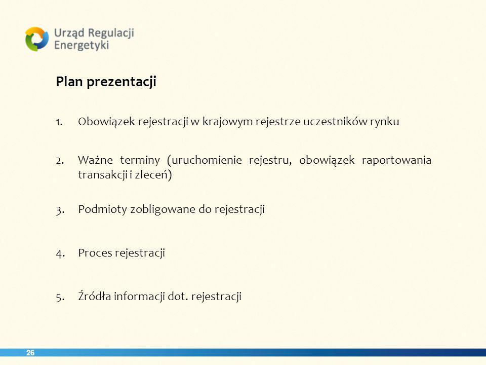 26 Plan prezentacji 1.Obowiązek rejestracji w krajowym rejestrze uczestników rynku 2.Ważne terminy (uruchomienie rejestru, obowiązek raportowania transakcji i zleceń) 3.Podmioty zobligowane do rejestracji 4.Proces rejestracji 5.Źródła informacji dot.