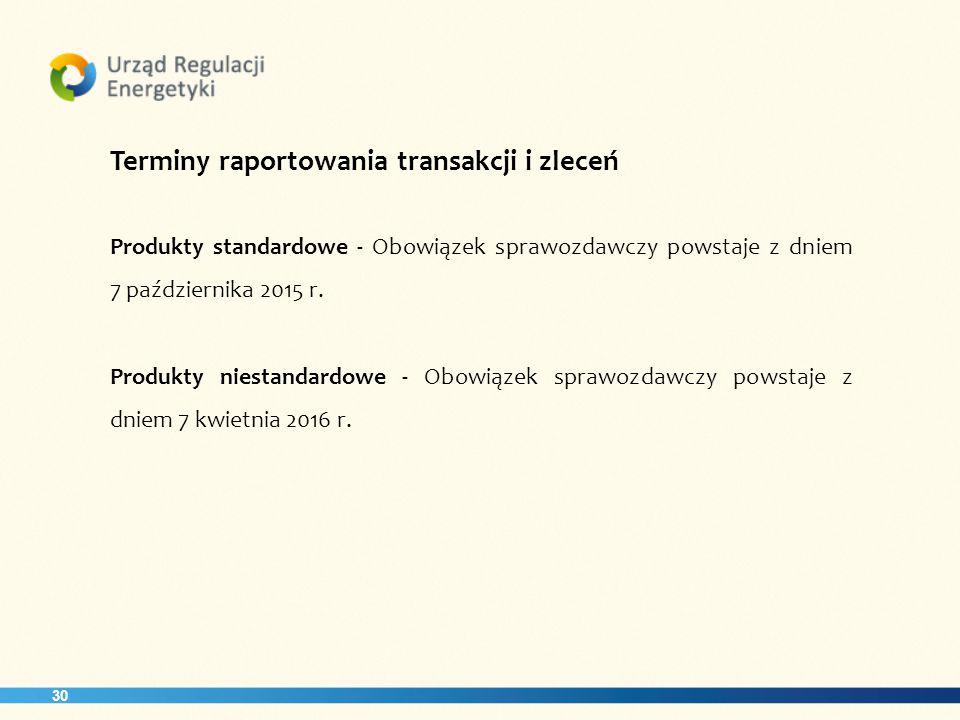 30 Terminy raportowania transakcji i zleceń Produkty standardowe - Obowiązek sprawozdawczy powstaje z dniem 7 października 2015 r.