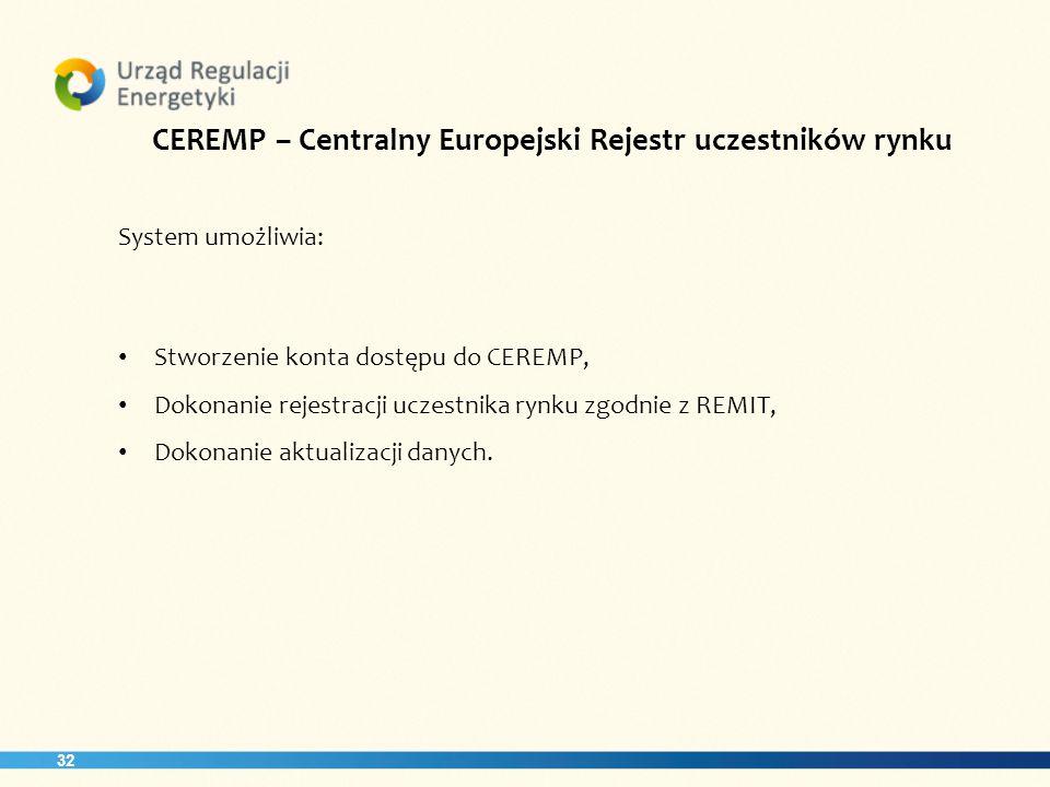 32 CEREMP – Centralny Europejski Rejestr uczestników rynku System umożliwia: Stworzenie konta dostępu do CEREMP, Dokonanie rejestracji uczestnika rynku zgodnie z REMIT, Dokonanie aktualizacji danych.