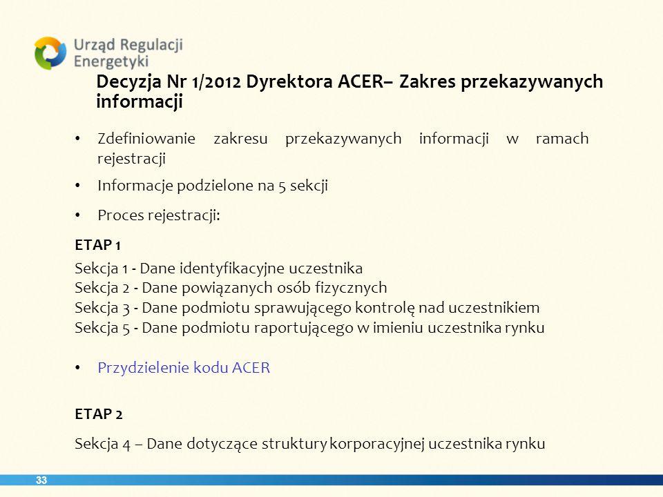33 Decyzja Nr 1/2012 Dyrektora ACER– Zakres przekazywanych informacji Zdefiniowanie zakresu przekazywanych informacji w ramach rejestracji Informacje podzielone na 5 sekcji Proces rejestracji: ETAP 1 Sekcja 1 - Dane identyfikacyjne uczestnika Sekcja 2 - Dane powiązanych osób fizycznych Sekcja 3 - Dane podmiotu sprawującego kontrolę nad uczestnikiem Sekcja 5 - Dane podmiotu raportującego w imieniu uczestnika rynku Przydzielenie kodu ACER ETAP 2 Sekcja 4 – Dane dotyczące struktury korporacyjnej uczestnika rynku