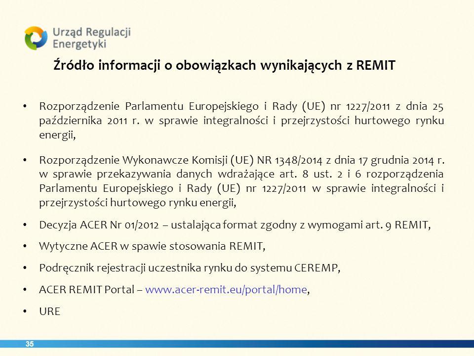 35 Źródło informacji o obowiązkach wynikających z REMIT Rozporządzenie Parlamentu Europejskiego i Rady (UE) nr 1227/2011 z dnia 25 października 2011 r.