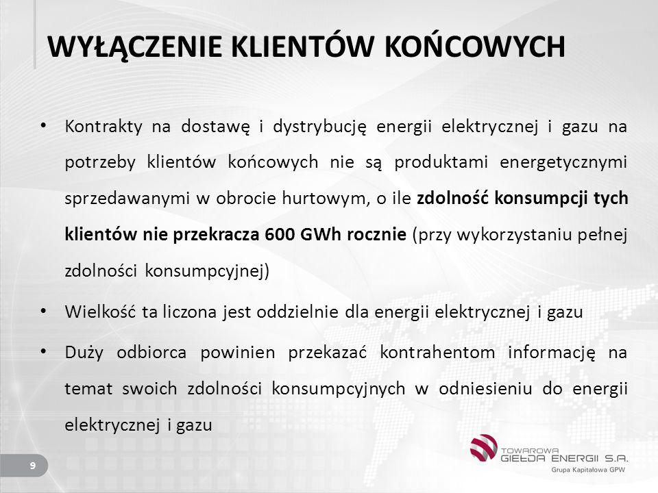 WYŁĄCZENIE KLIENTÓW KOŃCOWYCH Kontrakty na dostawę i dystrybucję energii elektrycznej i gazu na potrzeby klientów końcowych nie są produktami energetycznymi sprzedawanymi w obrocie hurtowym, o ile zdolność konsumpcji tych klientów nie przekracza 600 GWh rocznie (przy wykorzystaniu pełnej zdolności konsumpcyjnej) Wielkość ta liczona jest oddzielnie dla energii elektrycznej i gazu Duży odbiorca powinien przekazać kontrahentom informację na temat swoich zdolności konsumpcyjnych w odniesieniu do energii elektrycznej i gazu 9
